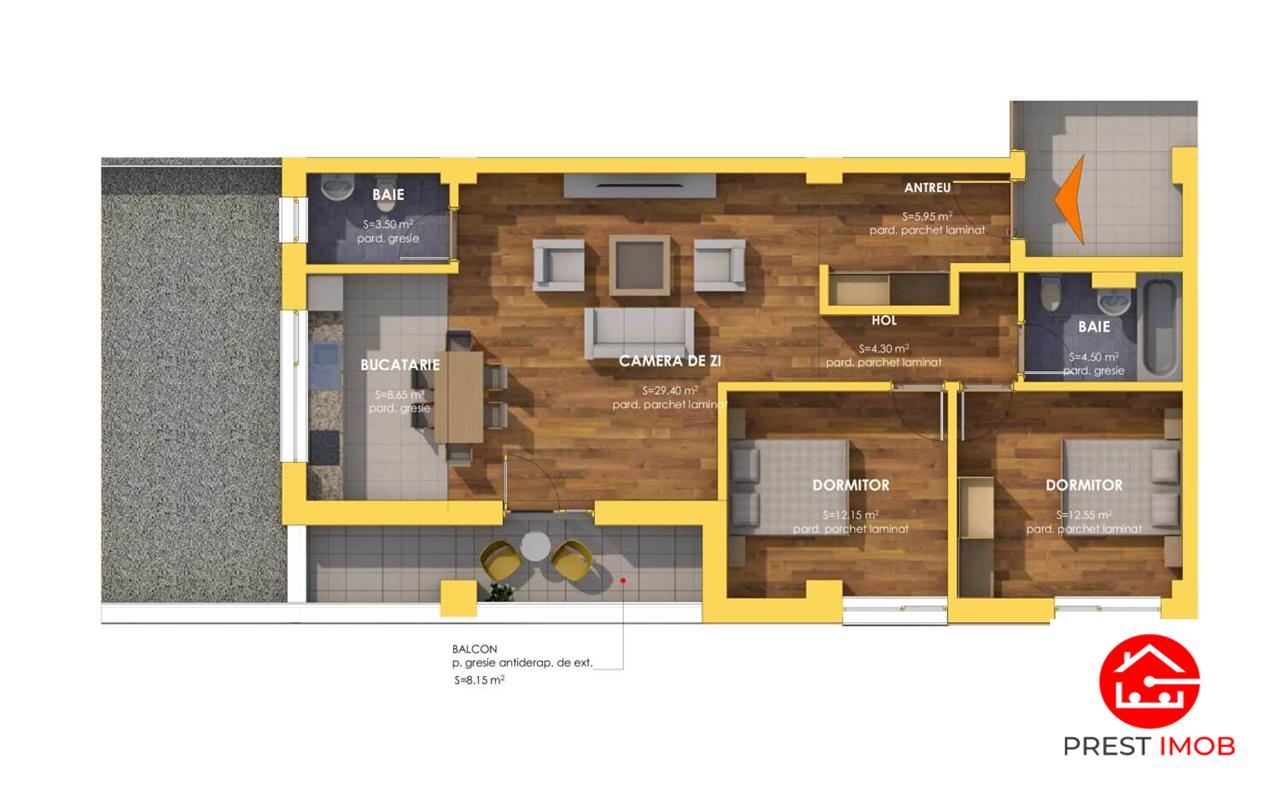 Apartamente cu 3 camere, semifinisate