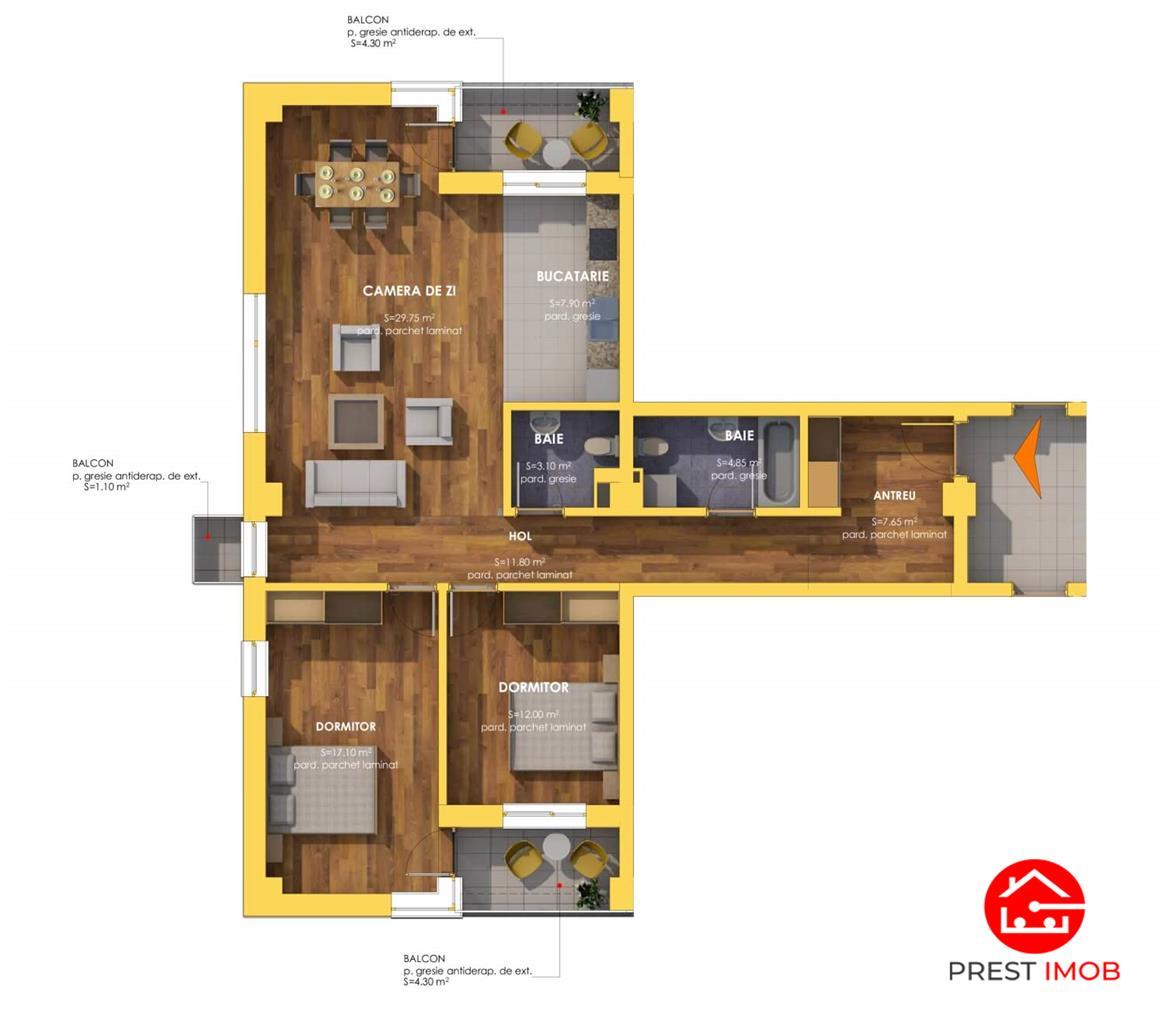Apartamente cu 3 camere, la stadiul semifinisat